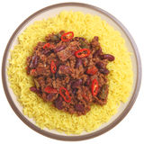Chilli Con Carne with Rice Isolated on White Royalty Free Stock Image