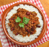 Chilli Con Carne & Rice Overhead Royalty Free Stock Image