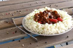 Chilli con carne with rice Stock Photo