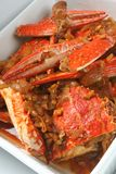 Chilli crab. Presented on white plate stock photos