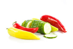 Chilli and cucumber isolated on white background vegetables Royalty Free Stock Photo