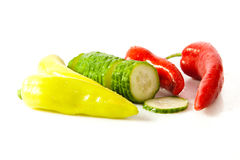 Chilli and cucumber isolated on white background vegetables Stock Image
