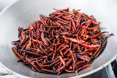 Chilli dry in the pan Royalty Free Stock Photos