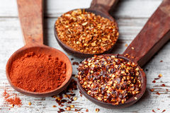 Chilli flakes and paprika Royalty Free Stock Photo
