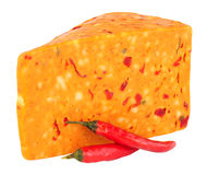 Chilli Flavour Cheddar Cheese Isolated On White Stock Photo