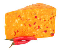 Chilli Flavour Cheddar Cheese Isolated On White Stock Images