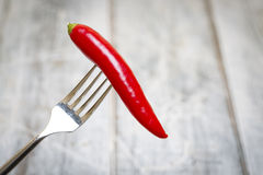 Chilli on Fork Royalty Free Stock Photography