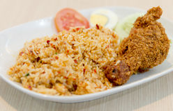 Chilli Fried Rice with fried chicken Thai style Royalty Free Stock Photo