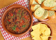 Chilli with Garlic Bread and Tortilla Chips Stock Image