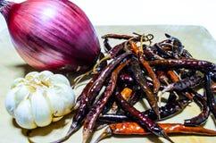 Chilli, garlic and onion. Dried chilli, purple onion and white garlic Royalty Free Stock Image