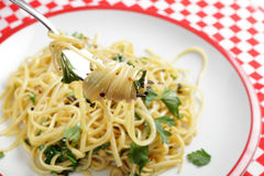 Chilli and garlic pasta royalty free stock image