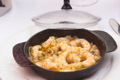 Chilli garlic prawns , spanish tapas cuisine Royalty Free Stock Photography