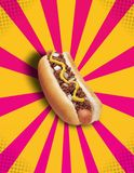 Chilli Hot Dog POP!. Image of an isolated chilli hot dog on a yellow and pink grundge/pop-art background Royalty Free Stock Photos