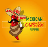 Chilli Hot Pepper. Mexican Chilli Hot Pepper Character Illustration royalty free illustration
