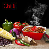 Chilli and Ingredients with Steam Rising Stock Photos