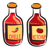 Chilli and ketchup bottle Stock Image