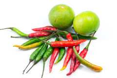 Chilli and lemon for thai cooking Royalty Free Stock Photo