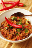 Chilli with minced  beef and herbs on white bowl Royalty Free Stock Image
