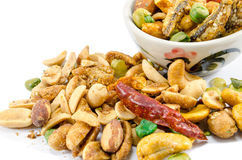 Chilli Nuts Selection. Bowl of chilli flavoured nuts with anchovy Stock Photo