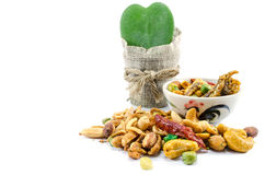 Chilli Nuts Selection. Bowl of chilli flavoured nuts with anchovy Royalty Free Stock Image