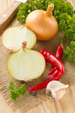 Chilli, onion and garlic Stock Photos