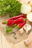 Chilli, onion and garlic Stock Photography