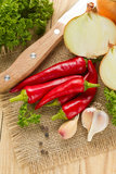 Chilli, onion and garlic Royalty Free Stock Photography