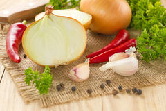 Chilli, onion and garlic Stock Photo