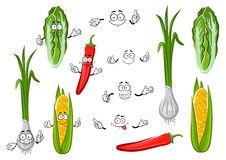 Chilli pepper, corn, onion and cabbage. Cartoon sweet corn cob, spicy green onion with long leaves, hot red chilli pepper and crunchy chinese cabbage vegetable Royalty Free Stock Photo
