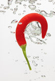 Chilli pepper falling in water with air bubbles Stock Photography