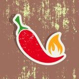 Chilli pepper label Stock Photo