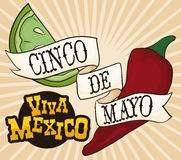 Chilli Pepper, Lemon with Ribbon Mexican for Cinco de Mayo, Vector Illustration Stock Images