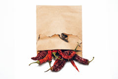 Chilli pepper in paper isolated Stock Photos