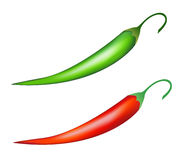 Chilli peppers. Red and green chilli peppers.  illustration Royalty Free Stock Photos