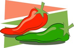 Chilli Peppers. A stylised drawing of a red and green red hot chilli pepper Stock Photography