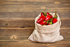 Chilli peppers in bag Royalty Free Stock Photo