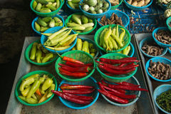 Chilli peppers. Fresh Chilli peppers on sale in market Stock Photos