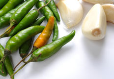 Chilli peppers and garlic Stock Image