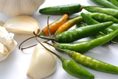 Chilli peppers and garlic Royalty Free Stock Image