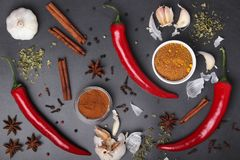 Chilli peppers and other spices top view. Different peppers and herbs at dark background view above royalty free stock image