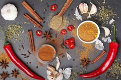 Chilli peppers and other spices top view. Different peppers and herbs at dark background view above stock images