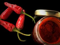 Chilli peppers with paprika Stock Images
