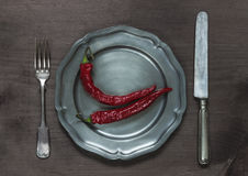 Chilli peppers on pewter plate Royalty Free Stock Photos