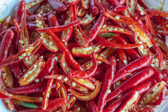 Chilli peppers. Red chilli peppers, closed-up Stock Photos