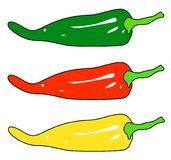 Chilli peppers set isolated on white background Stock Photo