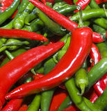 Chilli peppers2. A jumble of red and green chilli peppers in asian food shop royalty free stock images