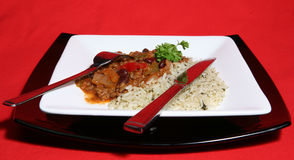 Chilli on a Plate. A tasty meal of Chilli con Carne served with Saffron rice stock photography