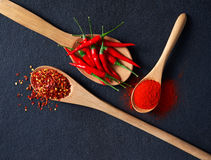 Chilli, Red Pepper Flakes and Chilli Powder Royalty Free Stock Photos