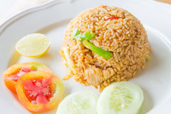Chilli Rice fried with chicken Stock Photos