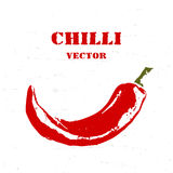 Chilli rough stylized print. Vector logo. Chilli pepper  on white scratched background, rough stylized print. Vector logo Stock Image